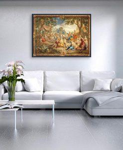 Ambientazione soggiorno Dipinto di una foresta con cornice in stile barocco