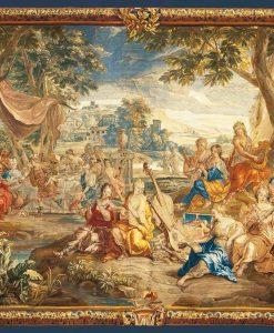 Dipinto di una foresta con cornice in stile barocco