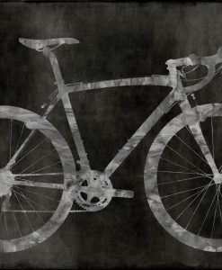 Silhouette di una bicicletta grigia su sfondo nero