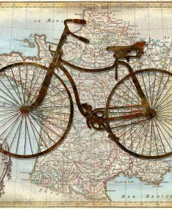 Bicicletta vintage sulla mappa della Francia