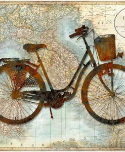 Bicicletta vintage sulla mappa dell'Italia
