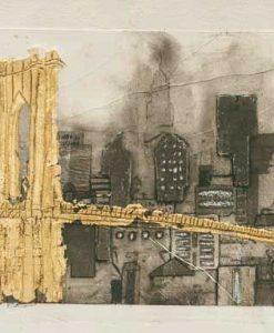Ponte dorato con il profilo dei palazzi di New York