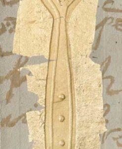 Forchetta color oro con dettagli in rilievo