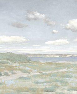 Dipinto dai toni pastello di un sentiero che porta al mare