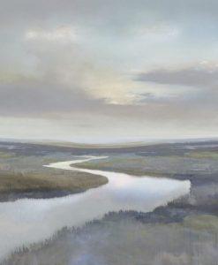 Vista di un fiume in pianura