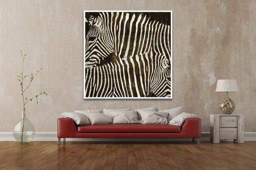 Dipinto ad effetto grafico grazie al manto di due zebre