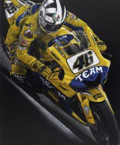 Dipinto di Valentino Rossi sulla sua Yamaha gialla