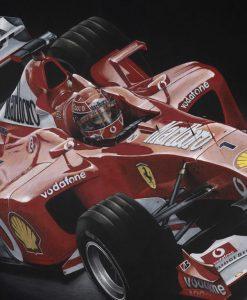 Dipinto del pilota Shumacher a bordo della sua Ferrari