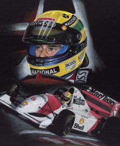 Dipinto del pilota Senna con la sua McLaren