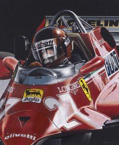 Dipinto del pilota Villeneuve a bordo della sua Ferrari