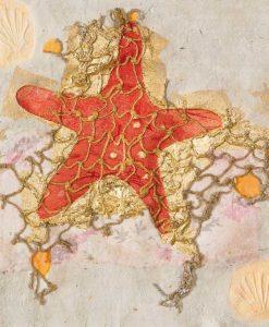 Stella marina con rete e dettagli color oro