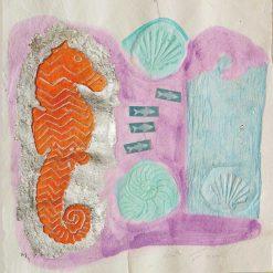 Cavalluccio marino con pesci e dettagli color argento