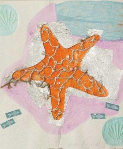 Stella marina con pesci e dettagli color argento