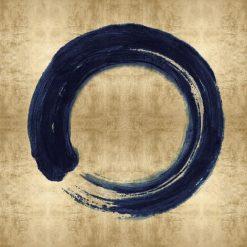 Cerchio blu su sfondo dorato