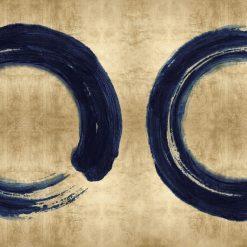 Cerchi blu su sfondo dorato