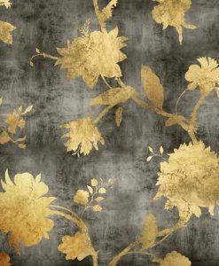 Eleganti sagome di fiori dorati su sfondo grigio