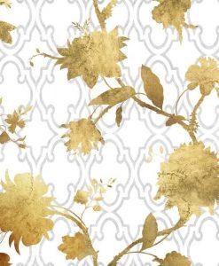 Eleganti sagome di fiori dorati su sfondo bianco