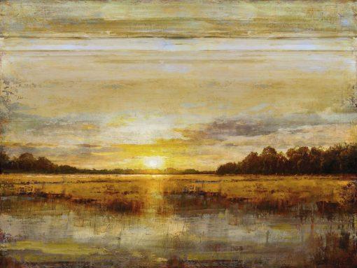 Orizzonte di un lago con tramonto