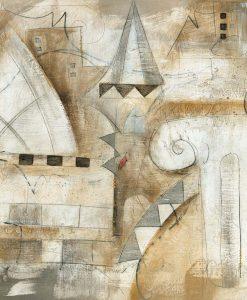 Dipinto astratto di una città con elementi classici