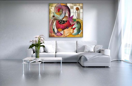 Dipinto astratto con elementi dinamici molto colorati