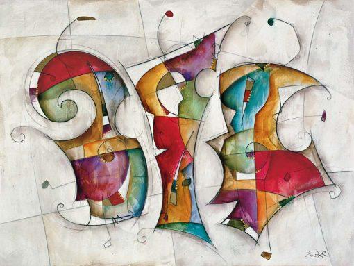 Dipinto astratto con elementi dinamici molto colorati su sfondo bianco
