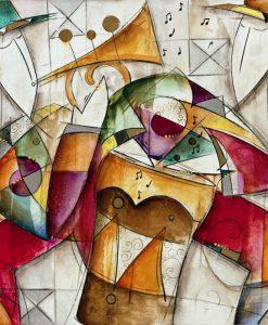 Dipinto astratto con musicisti variopinti e i loro strumenti musicali