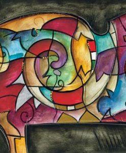 Dipinto astratto con un unico elemento dinamico molto colorato su sfondo scuro