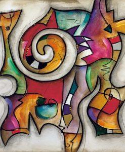 Dipinto astratto con un unico elemento dinamico molto colorato su sfondo chiaro