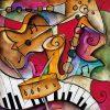Dipinto astratto multicolore di strumenti musicali con effetto dinamico