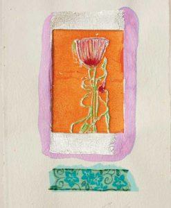Fiore rosso incorniciato fra elementi e texture diversi