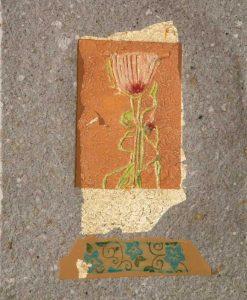 Fiore rosa incorniciato fra elementi e texture diversi