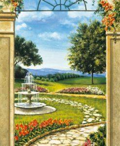 Vista su giardino con fontana