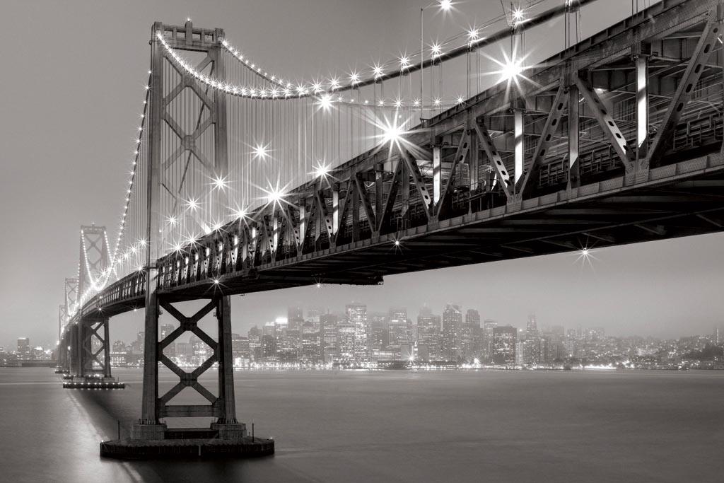 1a962e9e19 Aaron Reed - Bay Bridge At Night - ART+PLUS vendita stampe su tela ...