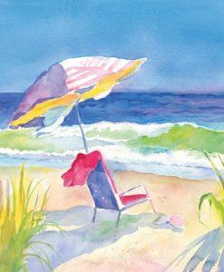 Vivace acquerello di una spiaggia
