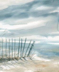 Delicato acquerello di una spiaggia