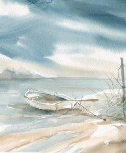 Acquerello di una barca sulla spiaggia