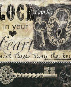 Messaggio romantico con cuore e chiave