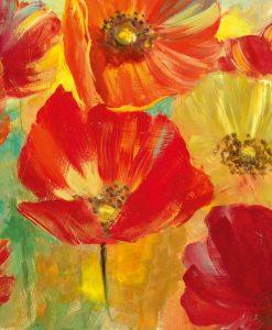 Papaveri dipinti con pennellate di colore acceso