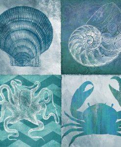 Illustrazioni in diversi stili di elementi marini in tonalità del blu