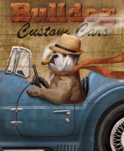 Bulldog alla guida di una macchina vintage