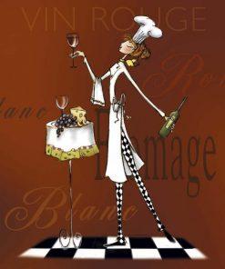 Chef leggiadra con vino