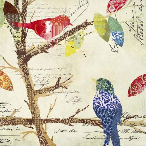 Composizione con uccellini innamorati e lettere