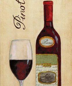 Bottiglia e bicchiere di vino rosso Pinot Noir