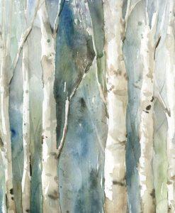 Bosco di betulle con sfondo blu