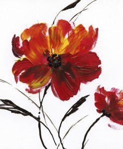Dipinto con papaveri rossi effetto pennellata