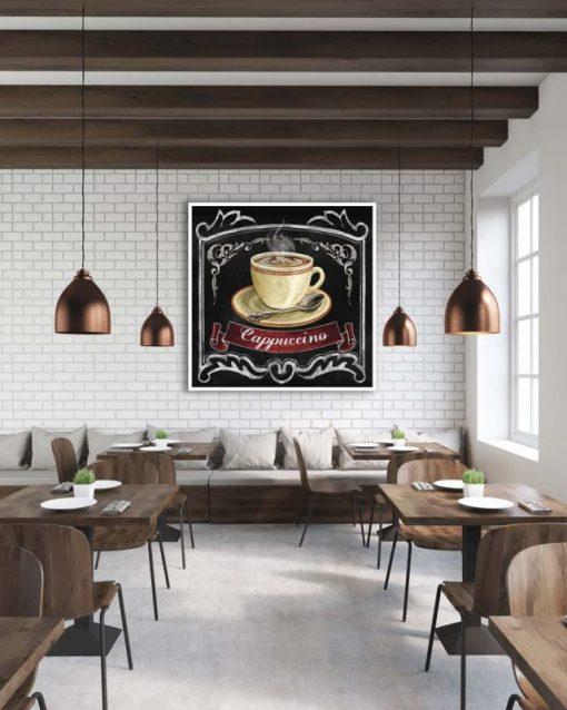 Illustrazione di una tazza di cappuccino effetto lavagna