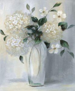 Dipinto con fiori bianchi in un vaso