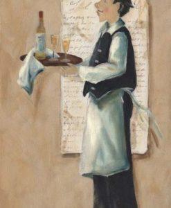 Elegante cameriere francese con vino
