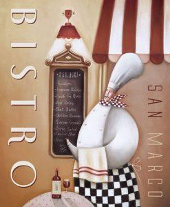 Illustrazione di uno chef davanti al menu del suo ristorante