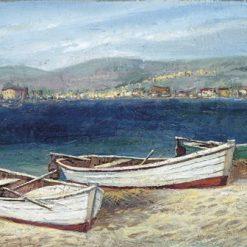 Dipinto della costa marittima con primo piano su delle barche a remi